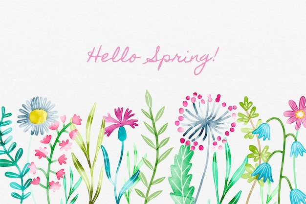 Hand painted spring background Free Vector