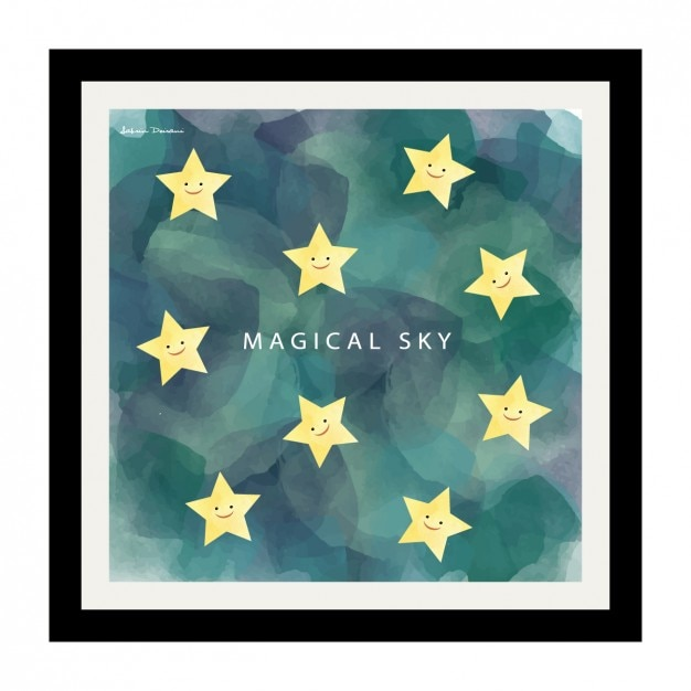 hand painted starry night design frame vector free download