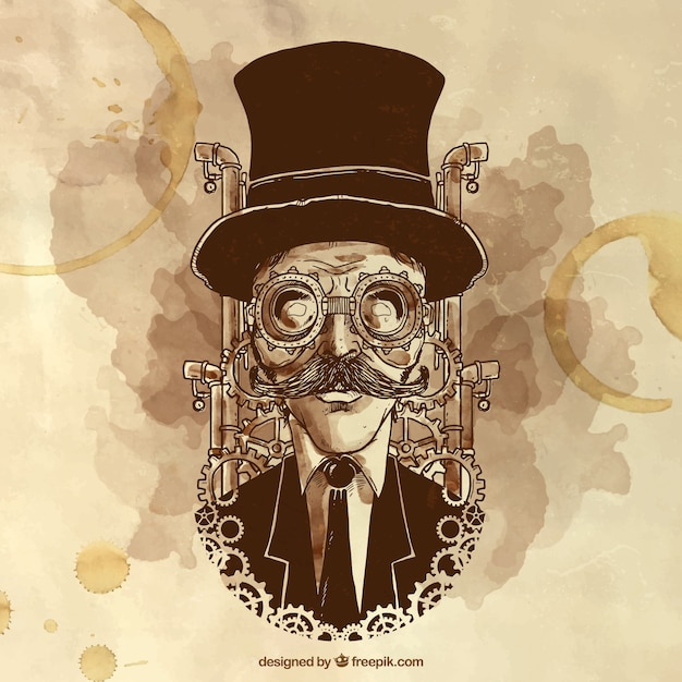 Hand painted steampunk man illustration Free Vector