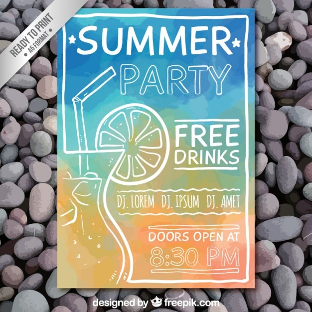 Hand painted summer party poster Premium Vector