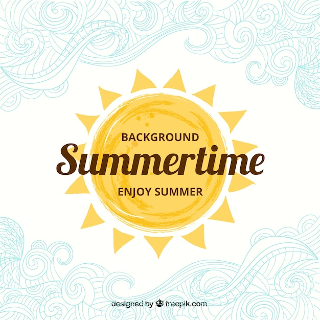 Hand painted summertime background Free Vector