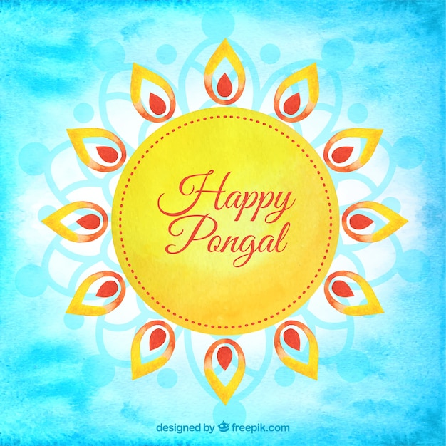 Hand painted sun of happy pongal background Free Vector