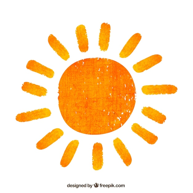 Hand painted sun Free Vector