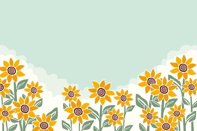 Hand painted sunflower background Premium Vector