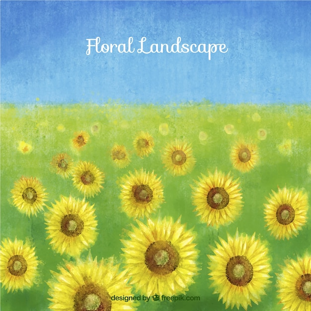 Hand painted sunflowers landscape\ background