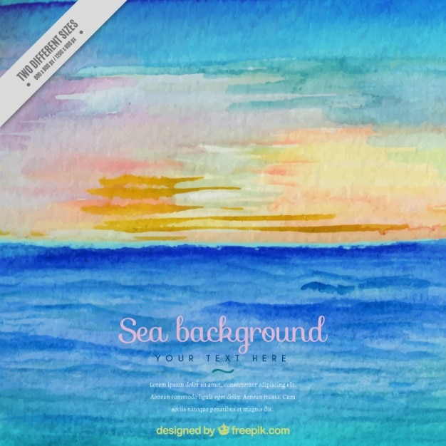 Hand painted sunset in the beach\ background