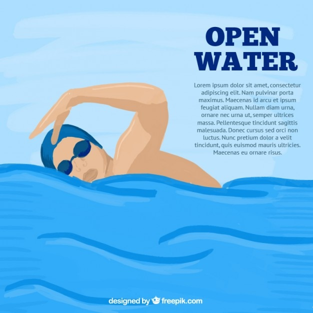 Hand painted swimmer background Free Vector