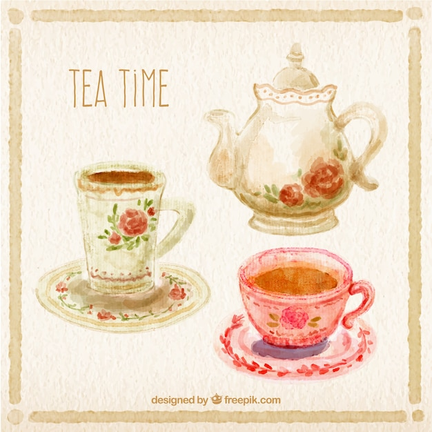 Hand painted tea time Free Vector
