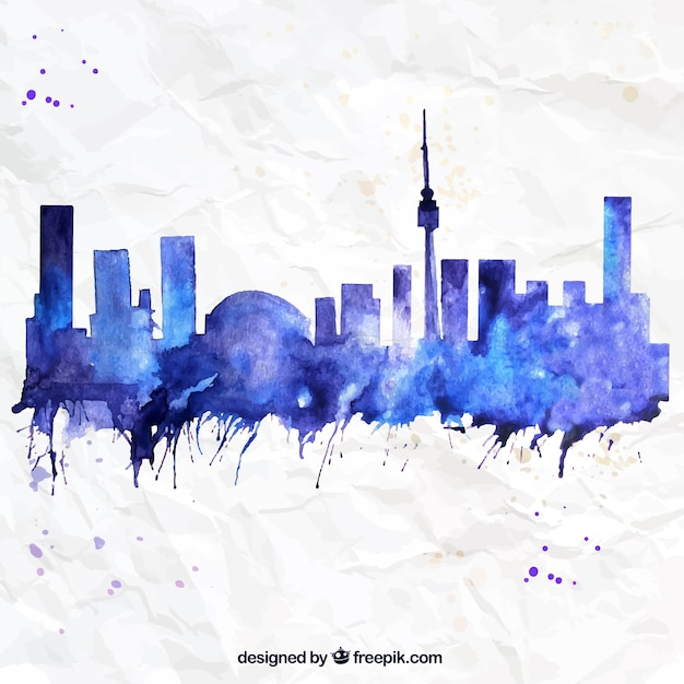 hand painted toronto skyline vector free download