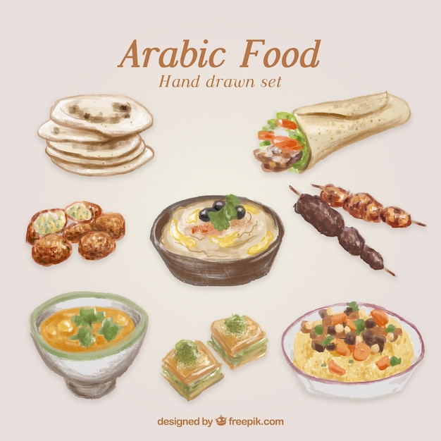 Hand painted traditional arabic food Premium Vector