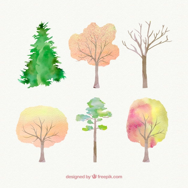 Hand painted trees Free Vector