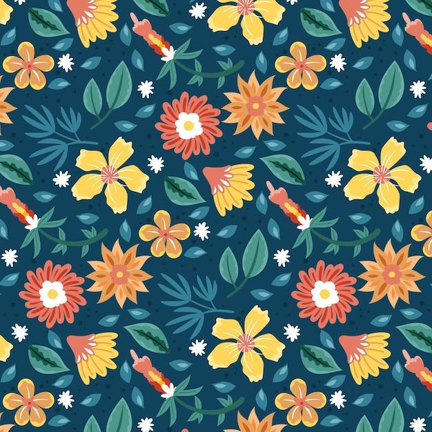 손으로 그린 열대 꽃 패턴 무료 벡터