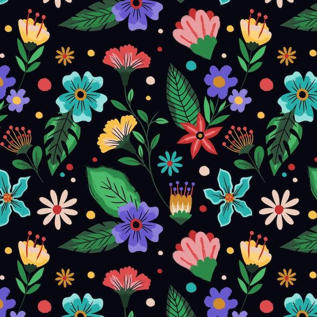 手描きの熱帯の花柄 無料ベクター