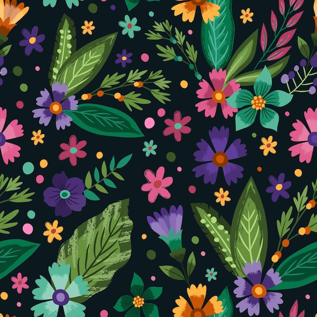 Hand painted tropical floral pattern Free Vector