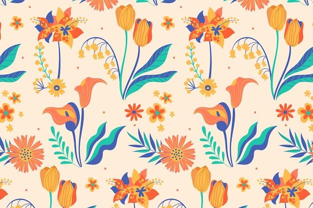 Modello di foglie e fiori tropicali dipinti a mano Vettore gratuito