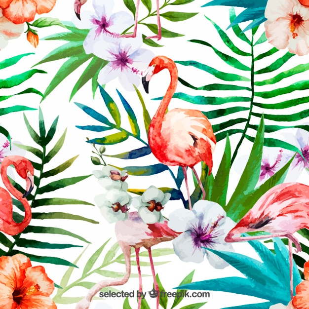 Hand painted tropical nature Free Vector