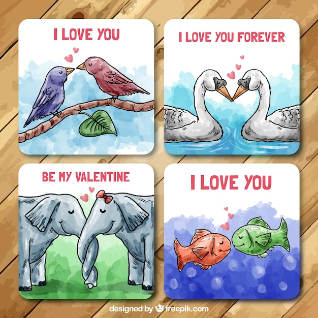 Hand painted valentine cards with animals in love Vector – Animal Valentine Cards