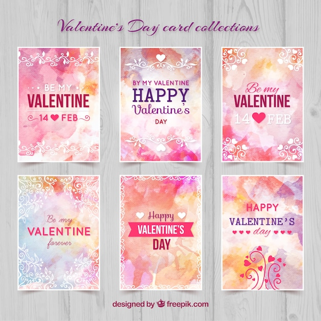 Hand painted valentine day cards Premium Vector