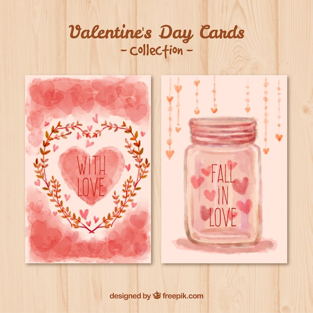 Hand painted valentines day cards in pink color Vector – Download Valentine Day Card