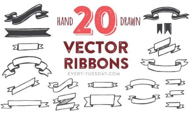 Hand painted vector ribbons pack Free Vector