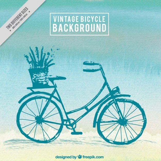 Hand painted vintage bicycle background