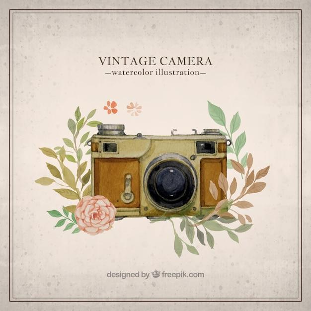 Hand painted vintage camera illustration Vector | Premium ...