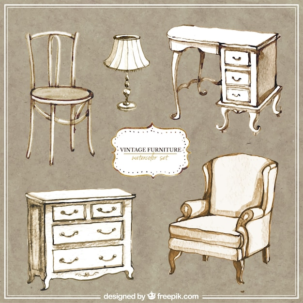 Hand Painted Vintage Furniture Vector Free Download