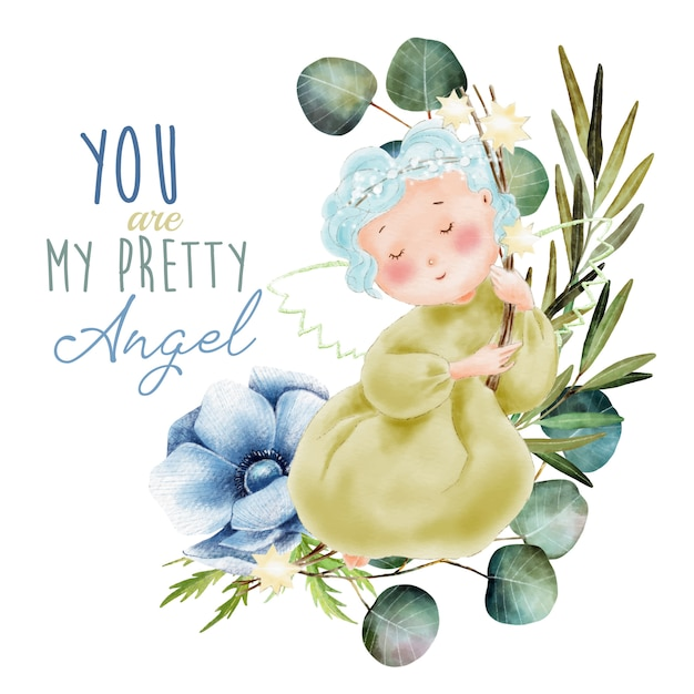 Hand painted watercolor angel with green leaves Premium Vector