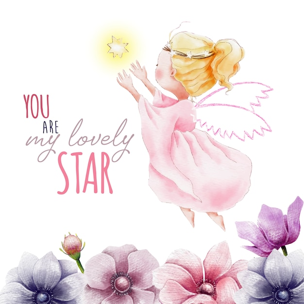 Hand painted watercolor angel with star and flowers Premium Vector