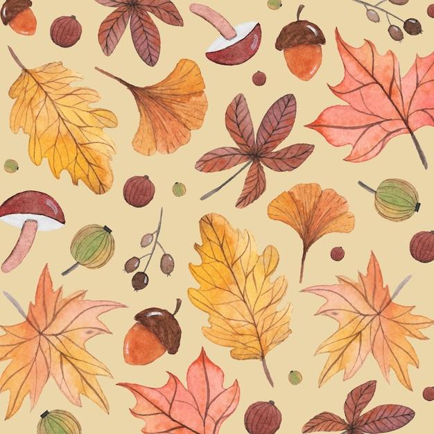 Hand painted watercolor autumn background Premium Vector
