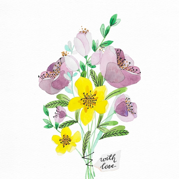 Hand painted watercolor flower bouquet Vector | Free Download