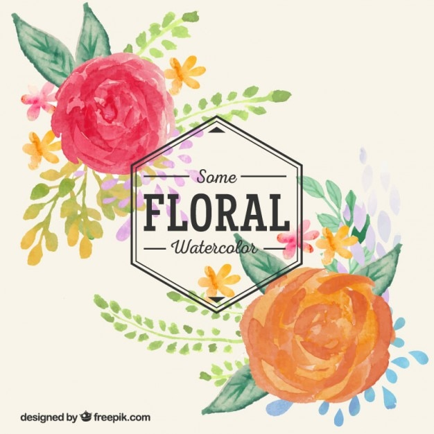 Hand painted watercolor flowers Free Vector