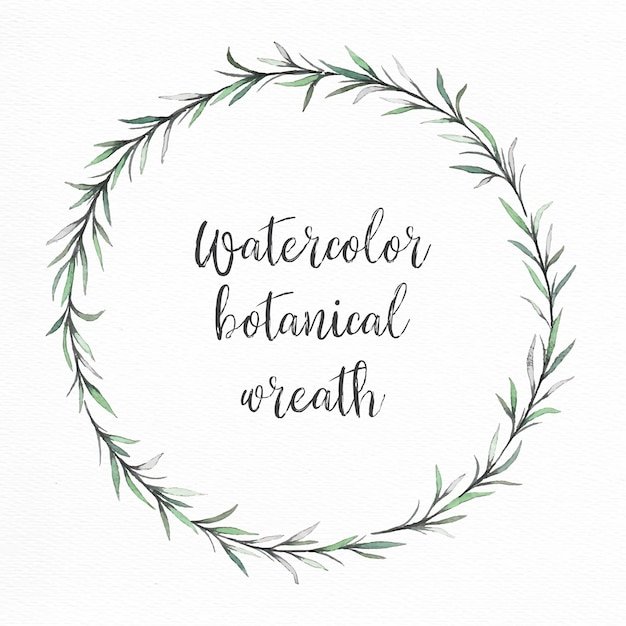 Hand painted watercolor green wreath Free Vector