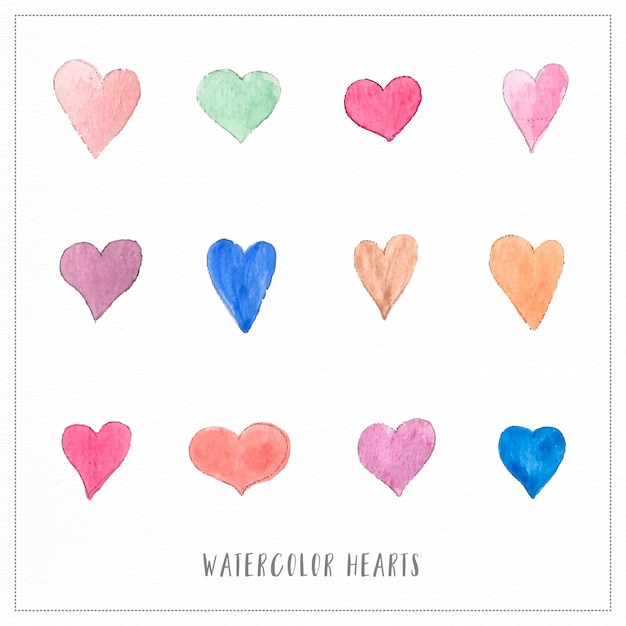 Hand painted watercolor hearts illustrations Free Vector