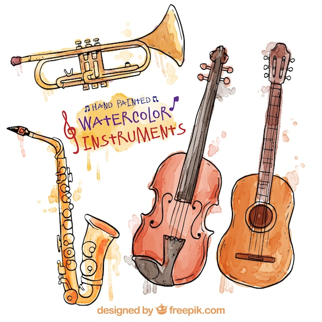 Hand painted watercolor instruments Free Vector