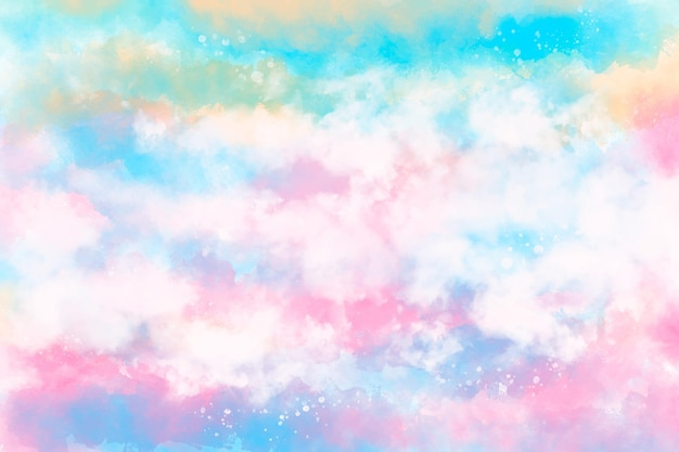 手描きの水彩パステル空の背景 無料ベクター