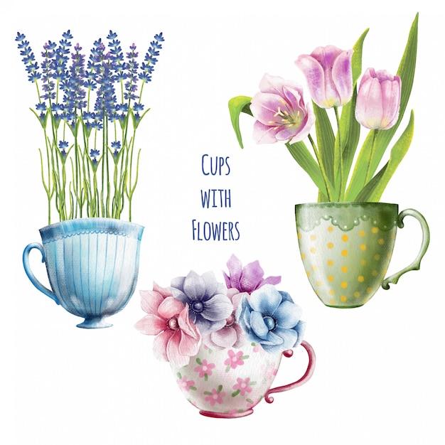 Hand painted watercolor set of cute flowers in teacups Premium Vector