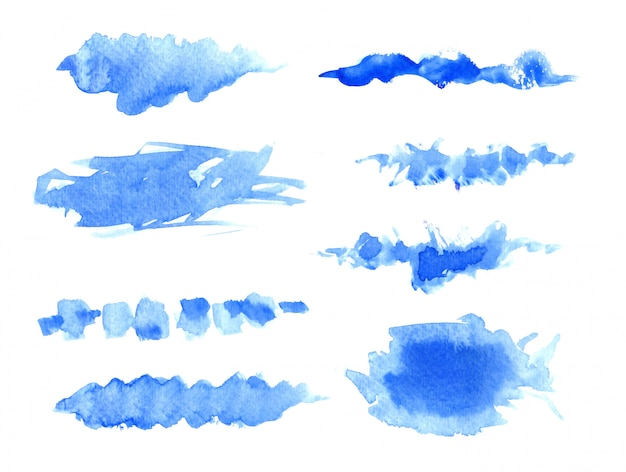 Hand painted watercolor stains set Premium Vector