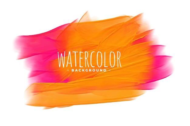 손으로 분홍색과 주황색 그늘에서 수채화 텍스처를 그린 무료 벡터