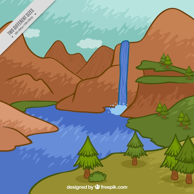 Hand painted waterfall among mountains\ background