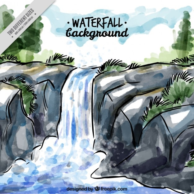 Hand painted waterfall