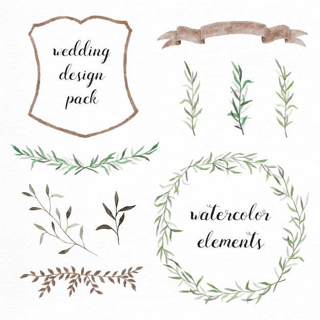 Hand painted wedding elements Free Vector