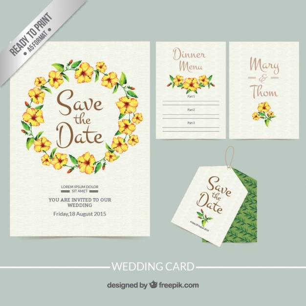 Hand Painted Wedding Invitation With Floral Frame Free Vector