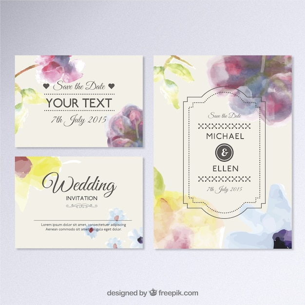 Hand Painted Wedding Invitation Vector Free Download