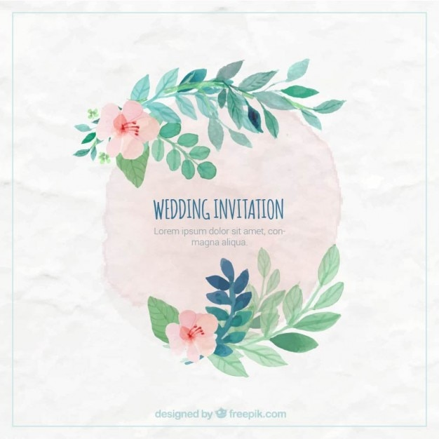 Hand painted wedding invitation Free Vector