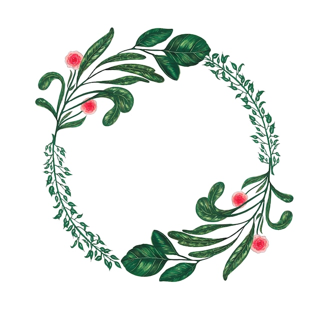 Hand painted with markers floral wreath with twig, branch and green abstract leaves Free Vector