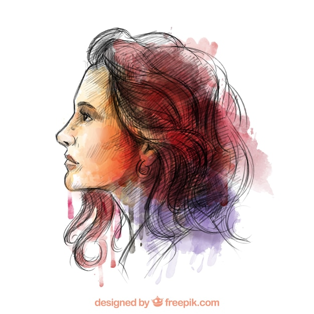 Hand painted woman in colorful style