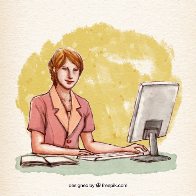 Hand painted woman working on her computer