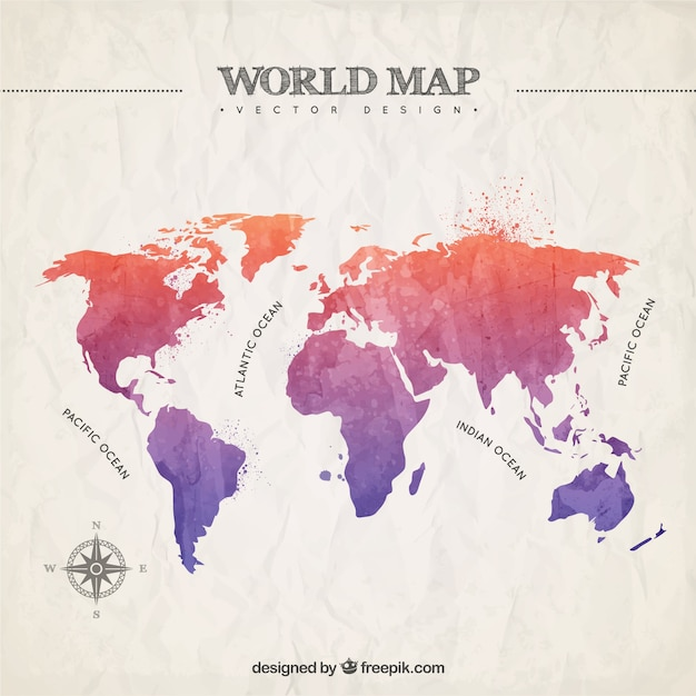 Hand painted world map vector premium download hand painted world map premium vector gumiabroncs Choice Image