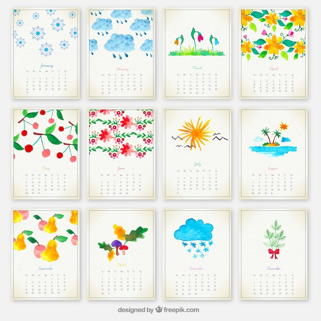 Hand Painted Yearly Calendar Vector  Free Download